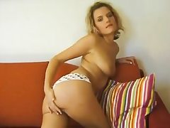 Czech blond curly haired nymph flashes her figure