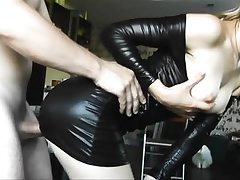 Latex youthfull stunner gets rear end poked firm