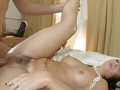 Fur covered labia dark-haired enjoys a scorching hard-core penetrate